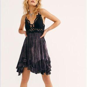 Free People One Adella Black Tie Dye Slip Dress